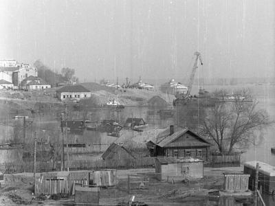 городок строителей на ул Луговая. Половодье, май 1979