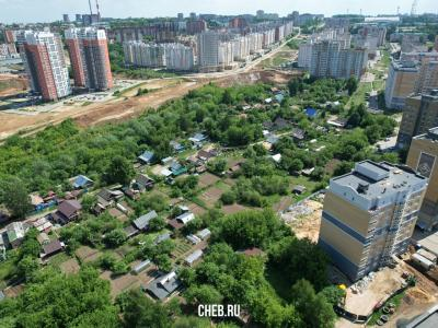 Вид сверху на частный сектор: улицы Пионерская и Белинского