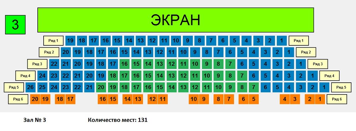"План зала №1 кинотеатра """