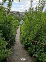 Пешеходная лестница. Спуск к реке Трусиха