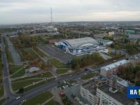 Вид сверху на улицу Цивильская и Чебоксары-арена, 2015 год