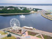 Фото с высоты на Чебоксарский залив