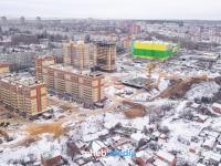 Вид с высоты на строительство микрорайона Кувшинка