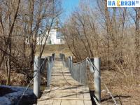 Висячий пешеходный мост через реку Малая Сундырка