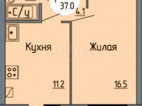Планировка однокомнатной квартиры 37,0 кв.м. (ул. Новогородская 14)