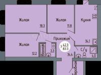 Планировка трехкомнатной квартиры 83,3 кв.м. (ул. Новогородская 14)
