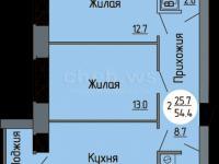 Планировка двухкомнатной квартиры 54,4 кв.м. (ул. Новогородская 14)