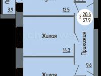Планировка двухкомнатной квартиры 57,9 кв.м. (ул. Новогородская 14)