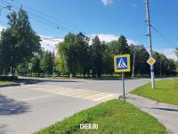 Пешеходный переход на перекрестке улиц Коммунистическая и Силикатная