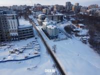 Вид сверху на улицу Нижегородская зимой