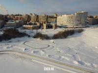 Вид сверху зимой на Певческое поле