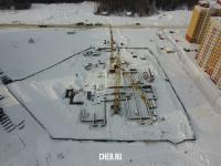 Вид сверху на строительство детского сада