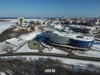 Вид сверху на ТРЦ Каскад и центр города