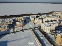 Вид сверху на Волжский-2 и Волгу