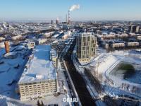 Вид сверху на улицу Калинина: Мега Молл и ЖК Видный
