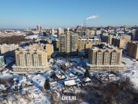 Вид сверху на дома микрорайона Благовещенский