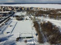 """Вид сверху на стадион """"Старт"""" зимой"""