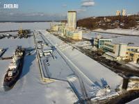Вид сверху на площадь Речников зимой