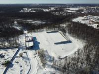 Вид сверху на биатлонный комплекс зимой