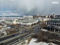 Вид сверху на перекресток Президентского бульвара и ул. Композиторов Воробьевых