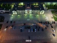Вид сверху на железнодорожный вокзал