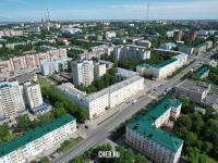 Вид сверху на дома по проспекту Ленина