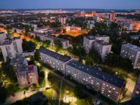 Вечерний вид сверху на дома по улице Тимофея Кривова