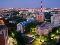 Вечерняя панорама домов по улице Тимофея Кривова