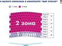 "План малого  зала кинотеатра ""Мир Луксор"""