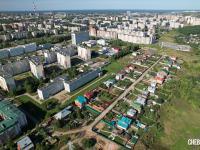 Вид сверху на район Больничного комплекса и улицу Федорова