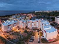 Сферическая панорама: Волжский-3, дома по улице Соколова вечером