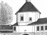 Надвратная одноглавая двухэтажная церковь Федора Стратилата (вторая половина XVII века) в составе Троицкого монастыря