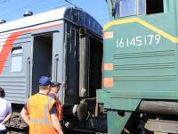 Стыковка паровоза с поездом Чувашия